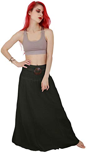 Billy's Thai Shop Cotton Maxi Skirt Boho Hippie Elastic Waist Skirt For Women, Black