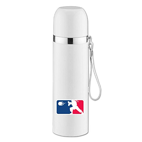ASCHO2 Vacuum Insulated Stainless Steel Hadouken Water Bottle With Cup Cap And Pourable Stopper For Indoor And Outdoor Activities, 25-Ounce