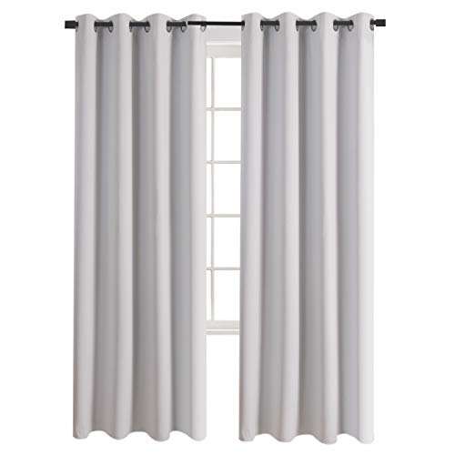 Aquazolax Grommet Solid Blackout Curtains Thermal Insulated Blackout Curtain Panels Draperies 52x84 Inch for Living Room, Set of 2 Panels, Greyish -