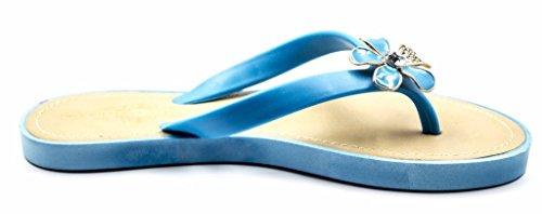 Charles Albert Femmes Gelée Floral Strass Confortable Flexible Plage Flip Flop Sandale Bleu