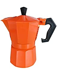 Stovetop Italian Espresso Coffee Percolator Retro Orange 3 cup capacity