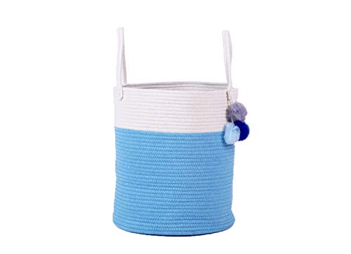 CraftEarth Blue Storage Basket for Nursery 40 by 35 cm - Woven Decorative Basket Large Natural Cotton Rope Basket with Handles (35 Cm Natural)