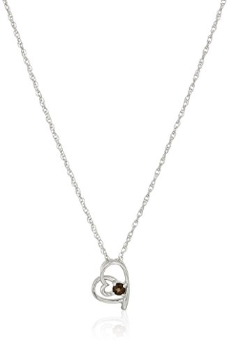 - Girl's Sterling Silver and Smoky Quartz Children's Pendant Necklace, 14