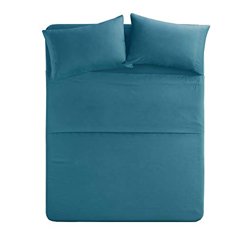 Comfort Spaces Ultra Soft Hypoallergenic Microfiber 4 Piece Set, Wrinkle Fade Resistant Sheets with Pillow Cases Bedding, Twin, Teal (Sheet Teal)