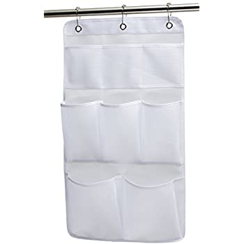 KIMBORA Mesh Shower Organizer Hanging Bathroom Caddy 8 Pockets Hang Curtain Rod With 3 Rings