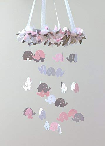 Elephant Nursery Ceiling Mobile in Light Pink, Gray & White- SMALL SIZE ()