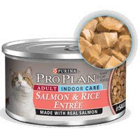 Pro Plan Cat Indoor Salmon and Rice Entree Canned Food 24/3-oz cans-, My Pet Supplies
