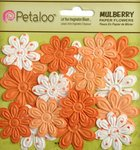 Petaloo - Flora Doodles Collection - Embossed Mulberry Flowers - Daisies - Mini - Tangerine