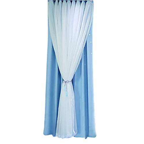 CCatyam Sheer Curtains, Window Curtain, Double-Deck Star Sky Blocking Treatments Light Panels, Decor for Bedroom Kitchen Living Room