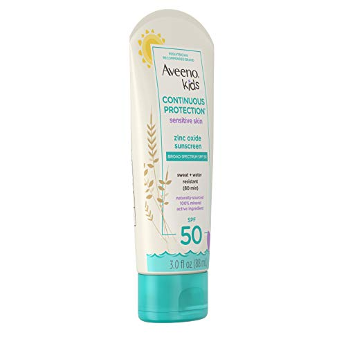 Aveeno Kids Continuous Protection Zinc Oxide Mineral Sunscreen Lotion for Children's Sensitive Skin with Broad Spectrum SPF 50, Tear-Free, Sweat- & Water-Resistant, Non-Greasy, 3 fl. oz