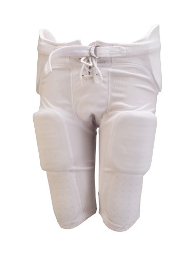 Athletic Specialties Youth Integrated Football Pant  with 7-Piece Sewn-In Pads (White, Medium)