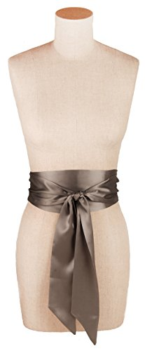 (L. Erickson USA Obi Sash Belt - Silk Charmeuse Thatched)