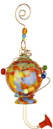 Red Carpet Studios 41192 Blown Glass Hummingbird Feeder, Spotted -