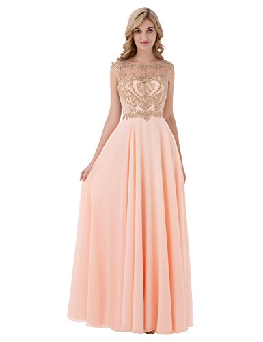 Sarahbridal Women's Gold Applique Beaded Bridesmaid Dresses Long Formal Prom Party Gowns Blush US10