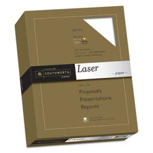 Southworth Co 25% Cotton Laser Paper, White, 24 lbs, Smooth Finish, 8-1/2 x 11, 500/Box (4 Reams)