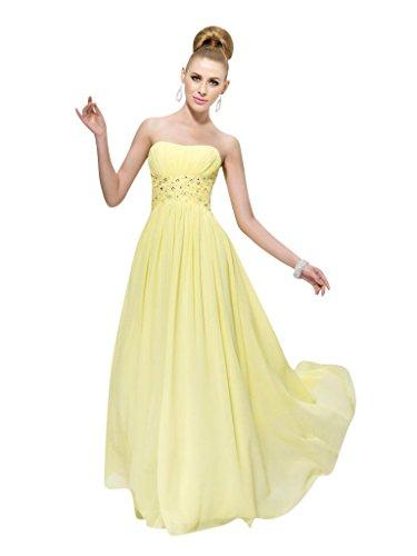 Mollybridal Strapless Beach Ruffle Long Chiffon Prom Dresses Yellow 12