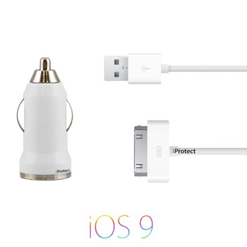 iprotect 2In1 Set Usb Data Cable And Car Adapter For Iphone & Ipod 4S 4 3Gs 3G 2G Classic Touch Nano Photo Mini In White