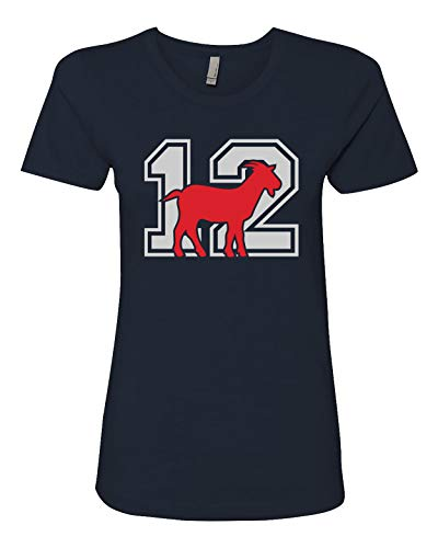New England #12 Goat Football Womens Fit T-Shirt-Navy-XXL