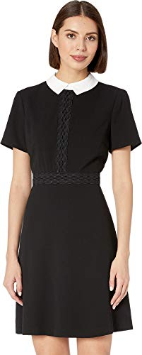 CeCe Women's Short Sleeve Moss Crepe Collared Dress w/Lace Trim Rich Black 12
