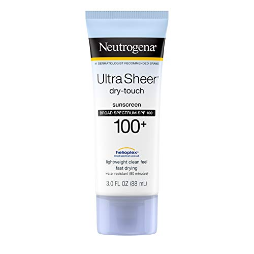Neutrogena Ultra Sheer Dry-Touch Water Resistant and Non-Greasy Sunscreen Lotion with Broad Spectrum SPF 100+, 3 Fl Oz (Pack of 1) (Best Water Resistant Sunscreen)