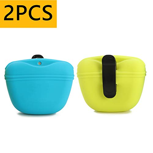 RoyalCare 2Pcs Dog Treat Pouch, Silicone Dog Training Bag Portable Dog Treat Bags with Magnetic, Closing and Waist Clip, Blue and Green