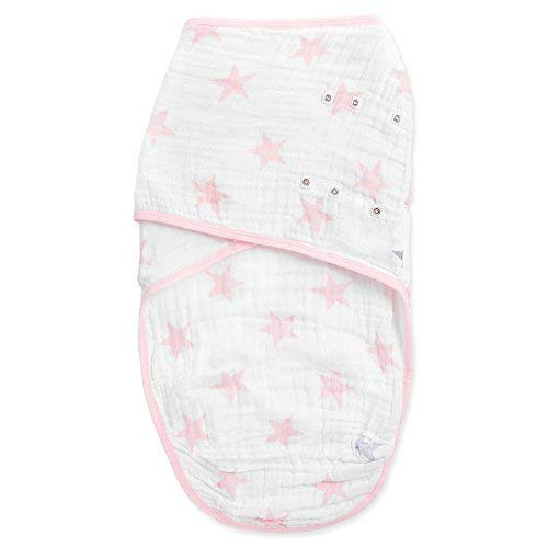 Aden by Aden + Anais Easy Swaddle Wearable Baby Wrap, 100% Cotton Muslin, Doll Pink Stars- S/M