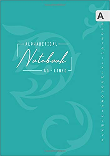 Medium Lined-Journal Organizer with A-Z Tabs Printed Alphabetical Notebook A5 Smart Baroque Design Teal