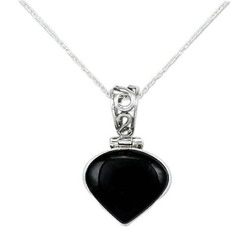 NOVICA .925 Sterling Silver and Dyed Onyx Pendant Necklace, 16.5