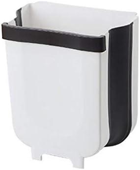 折りたたみゴミ箱キッチンゴミ箱車のゴミ箱は壁に取り付けられたゴミ箱バッグホルダー折りたたみトイレの収納バケット,White