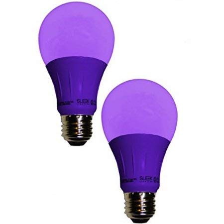 Sleeklighting LED A19 Purple Light Bulb, 120 Volt - 3-Watt Energy Saving - Medium Base - UL-Listed LED Bulb - Lasts More Than 20,000 Hours 2pack ()
