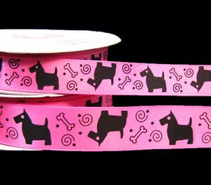 2 Yards Pets Puppy Dogs Bones Pink Black Satin Ribbon Florist, Flowers, Arts & Crafts Gift ()