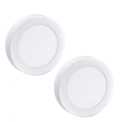 2Pack LED Surface Mounted Panel Ceiling Light Fixture-12W Soft Warm Flat Flush Mount Downlight Lamp for Closet/Hallway/Stairs/Bathroom/Basement Lighting (Single Panel Flat Small)