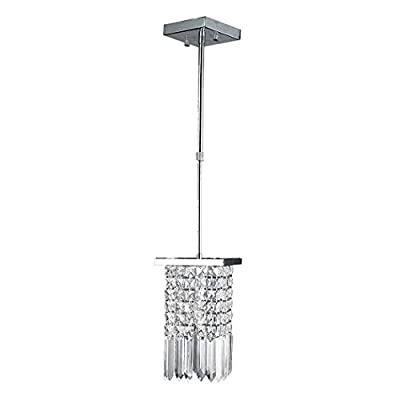 """Worldwide Lighting Torrent Collection 1 Light Chrome Finish and Clear Crystal Square Square Pendant 6"""" L x 6"""" W x 10"""" H Mini"""
