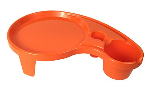 Arron Kelly - Party Pals - One Handed Drink Holder, Napkin, Cutlery & Food Serving Tray with Hidden Handle - Orange - Breakfast Table for 1