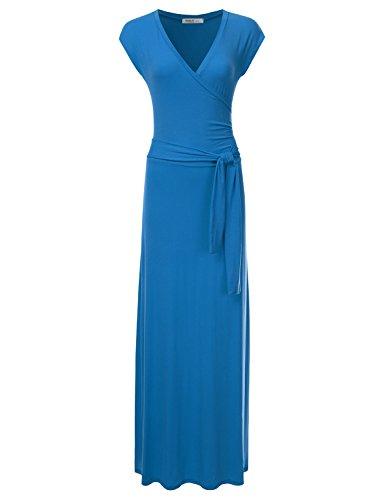 (NINEXIS Women's V-Neck Cap Sleeve Waist Wrap Front Maxi Dress Teal 2XL)
