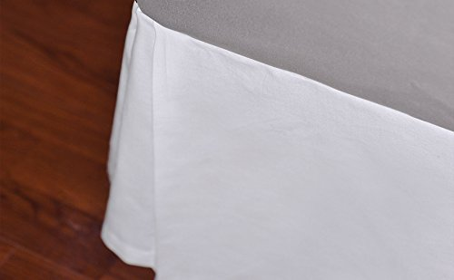 Home Soft Things Serenta Solid White Cotton Canvas Drop Bed Skirt with Quadruple Pleated, 15 Inches Drop Length, Full