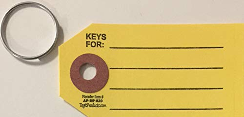 Yellow Reinforced Key Tags w/Rings (T6) (1000) (Key Tag Vinyl)