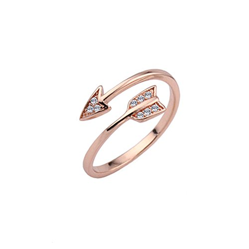 METTU Silver and Rose Gold Open Adjustable Love Arrow Ring for Girls (Rose Gold-1)