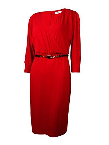 Calvin Klein Womens Matte Jersey Surplice Wear to Work Dress Red ()
