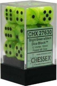 【★大感謝セール】 Chessex Dice B00U8ATQHA d6 Sets: Vortex Bright Green with Black of Black - 16mm Six Sided Die (12) Block of Dice by Chessex B00U8ATQHA, タイヤステージ 湘南:e841d9fb --- egreensolutions.ca