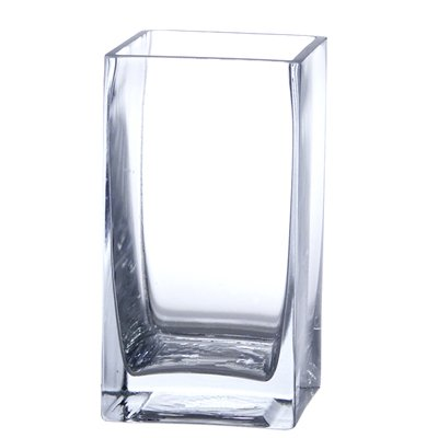 Candles4Less - Bulk 24 Pieces Clear Glass 3x3x6 Square Vase Perfect for Weddings, Restaurants and Floral Use