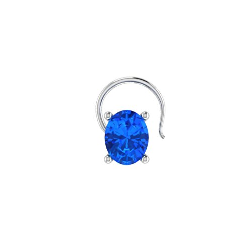 (Oval Shaped 0.15ct D/VVS1 Simulated diamond 925 Sterling Silver Stud Screw & Twist Wire nose pin)