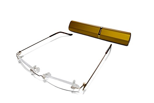 Rimless Reading Glasses for Men and Women +1.0 Gold Ultra Slim and Ultra Light Includes Aluminium Matching Case By - Uk Reading Prescription Glasses