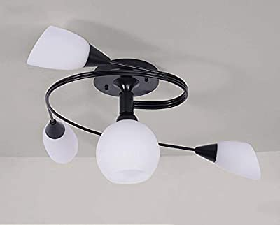 EAST Simple American Personality Living Room Dome Light Rural Room Art Light Iron Paint Chandelier Creative Ceiling Light Retro Lamp Bedroom Restaurant Lantern Glass Art Burner Tube