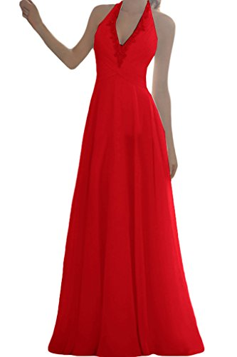 A Rot Lang Linie Hochzeitskleider Ivydressing Neckholder Damen Brautkleider Einfach Schleppe Chiffon cwqqYSvH