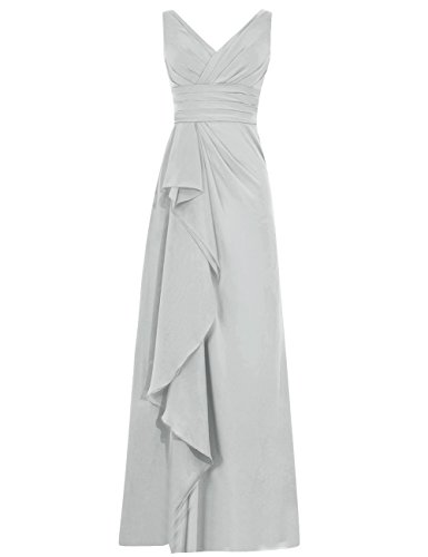 Long Prom Bridesmaid Silver Neck Cdress Chiffon Dress Dresses Ruffles Womens Party V anpwqZwftB