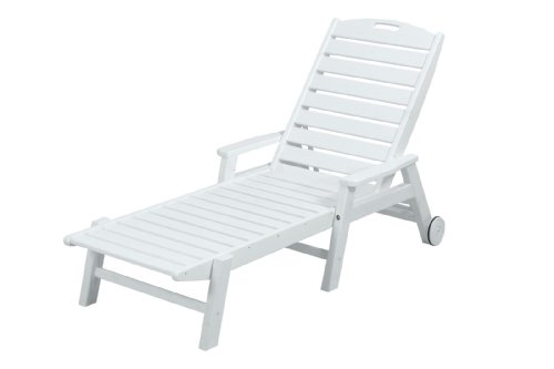 Polywood ncw2280wh nautical wheeled chaise with stackable for Best price chaise lounge