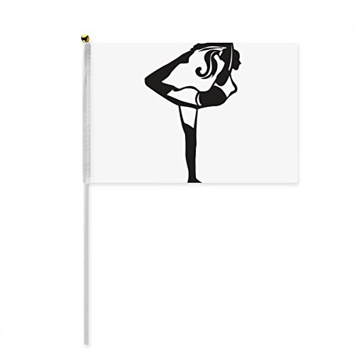 Stretching Yoga Girl Keep Silhouette Hand Waving Flag 8x5 inch Polyester Sport Event Procession Parade ()