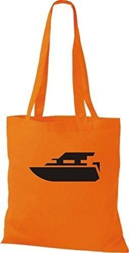 Shirtstown Yute la bolsa de asas LANCHA DE MOTOR, Yate, botas, patrón, Capitán Naranja