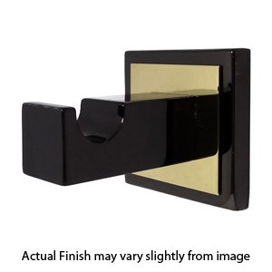 Contemporary Square Robe Hook (by Baldwin Hardware) Solid Brass / Black Nickel with Polished Brass -